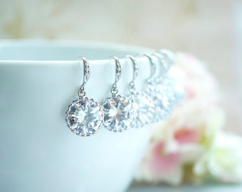 Set of 11, Eleven Pairs Wedding Earrings. A Round Cubic Zirconia White Silver Plated Earring.11 Bridesmaids CZ Earring.  Bridesmaids Gifts.