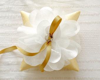 Gold wedding ring pillow, yellow gold ring bearer, ring cushion, ring bearer pillow wedding - Julie