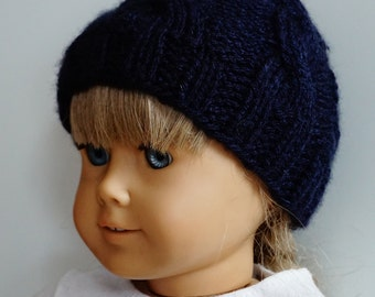 Navy Blue Cable Knit Doll Hat
