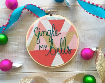 Jingle My Bells Color Pop Embroidery Ornament. 4 Inch Embroidery Hoop. Winter Holiday Ornaments. Handmade Christmas Ornament by KimArt
