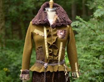 Brown Military style steampunk sweater COAT, boho refashioned OOAK fantasy outerwear. Up cycled sweaters art to wear. Size S/M.Ready to ship