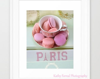 Paris Photography, Laduree Macarons, Paris Laduree Macarons, Paris Desserts Food Print, Paris Laduree Pink Macarons, Paris Food Photography