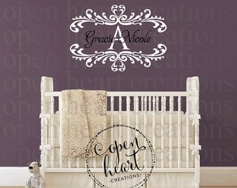 Name Wall Decals, Damask Wall Decal, Vinyl Wall Decals, Monogram Wall Decals , Part 53