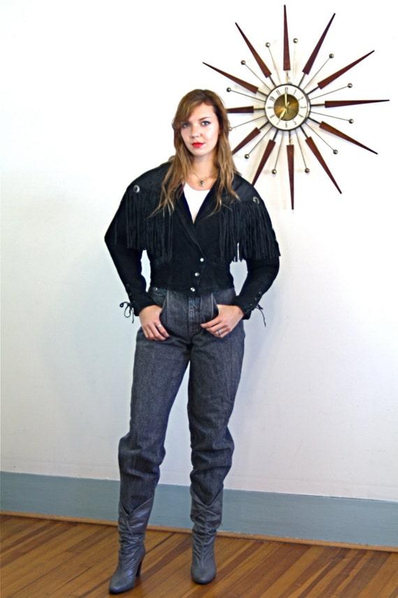 Vintage 80s Leather Fringe Cropped Jacket Black Suede Southwest Silver Conchos Braided Lace Up 1980s Short Leather Embossed Coat Bermans