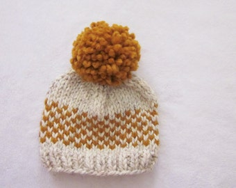 Toddler Hats for Boys, Baby Boy Hat, Kids hats, Newborn Hats, Toddler Hats, Baby Hats for Boys, Knit Hat, Pom Hat, Butterscotch Baby Hat