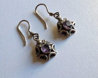Amethyst Sterling Earrings Pierced Spider Web Star Flower