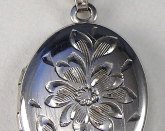 Flower Engraved Locket Pendant Necklace Sterling Chain