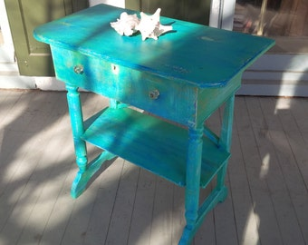 Beach Cottage Bedside Table Mermaid Gypsy Vintage Accent Table Poppy Cottage Painted Furniture