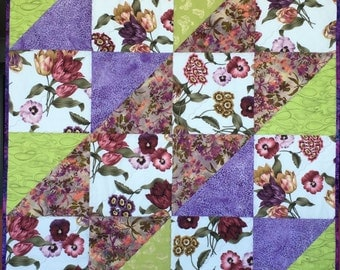 Modern Floral Quilt, Spring Summer Couch Throw, Baby Blanket, Toddler Quilt, Shabby Chic Blanket, Purple and Green