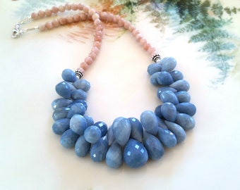 Oregon Owyhee Blue Opal Necklace, OOAK Owyhee Blue Opal Teardrop Statement Bib Necklace