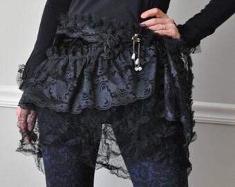 WRAP Belt , Black Lace Ruffled Wrap Belt, Mini Skirt, Belt, Barocco, Steampunk, Bohemian, Gypsy, Belly Dance, Costume Party, Hip Wraps