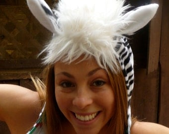 Zebra Hat, Adult Costume, Animal Hat