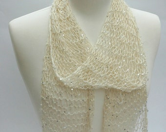 Silk & Mohair Scarf, Beads and Sequins, Hand Knit/ White/Ivory