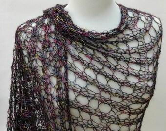 Rayon Shawl- Hand Knit/Black, Mauve, Deep Pink, Gold