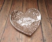 Love Vintage Lace Floral Rose Vine Heart Jewelry Dish Ring Holder Engagement Wedding Anniversary Valentine Couple Gift, Antique Bronze Pearl