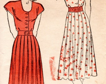 1940s Shirtwaist Dress - Vintage Pattern New York 269 - Size 12 Pleated Skirt