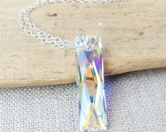 Aurora Borealis Crystal Necklace, Swarovski Rectangle Pendant, Sterling Silver, Column Pendant, Prism Necklace, Gift for Her, AB Jewelry