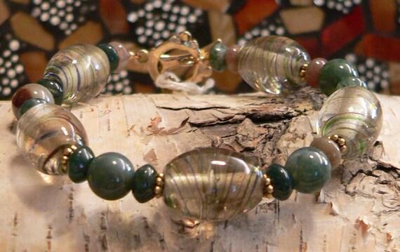 Glass bracelet, glass beads, green bracelet, fancy jasper, gemstone bracelet, chunky bracelet, boho bracelet, gift for women
