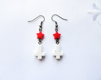 Kawaii Goth Earrings, Kawaii Earrings, Goth Earrings, Inverted Cross, Upside Down Cross, Goth, Kawaii, White, Red, Star