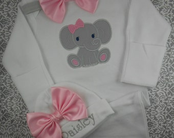 Baby girl, Coming home outfit, Take home outfit, hospital outfit, baby hat, outfit, Elephant, personalized, NAME, Pink, Grey, shower gift