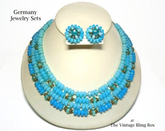 """20"""" Germany 4 Strand Beaded Bib Necklace & Clip Earrings in Monochromatic Blue and Gold Accents - Vintage 30's Pre WWII Costume Jewelry Sets"""