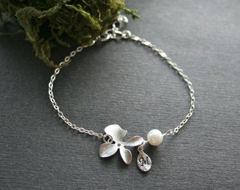 Orchid Bracelet, Custom Initial, Personalized Bracelet, Great Gift, Everyday Jewelry