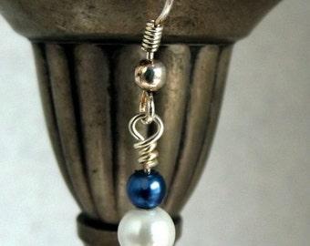Red White and Blue Pearl Earrings, Swarovski Pearl Earrings, Shiny Red, White, and Blue Swarovski Pearl Earrings