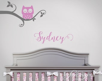 Wall Decal Nursery Tree Wall Decal For Kids With Personalized Name - Whimsical Owl Branch With Custom Name.