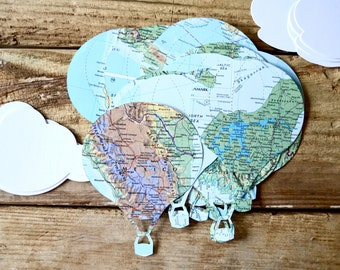 Vintage Map Hot Air Balloon Confetti, and clouds too!