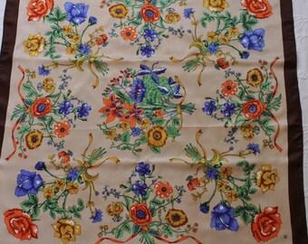 Vintage 70s Women's Floral Roses Floral Print Brown Beige Spring Summer Large Square Scarf