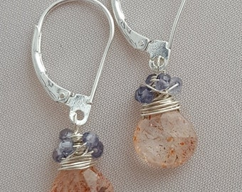 Sunstone and iolite briolette earrings