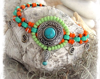 Neon Charm ANKLE Bracelet Cowgirl anklet Snail Shell Turquoise Mint Orange beaded Anklet Tribal Native Boho foot jewelry resort spa GPyoga