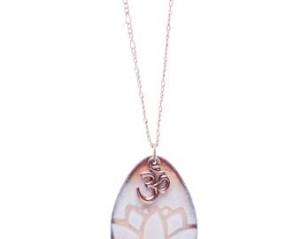 White Lotus Flower & Om Necklace