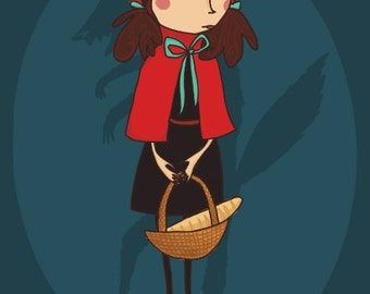 Little Red Riding Hood Illustration Poster  A3 or A4 (uk)