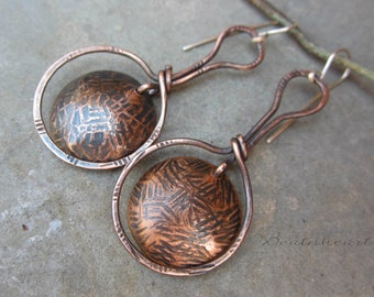 Heavens Gate artisan dangle earrings copper jewelry rustic boho southwest stamped copper disks