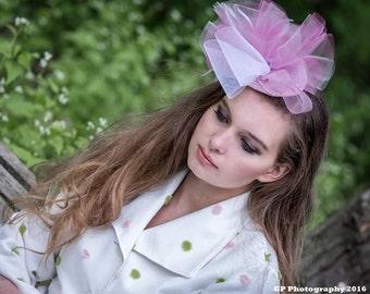 Pink headband, pink fascinator, pink hat, tea hat, tea party