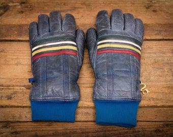 Grandoe Ski Gloves, Ladies Small, Retro Rainbow Stripes, Vintage 80s