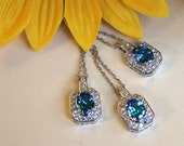 Bridesmaids set of 3 necklaces, blue stone halo, something blue necklace, aqua blue halo style necklace