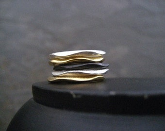Wavy stacking rings, uneven bands, mixed metal stack, 5 ring set, stackable rings, multi metal bands, gold stacking rings, black rhodium