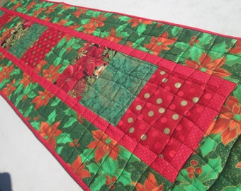 Quilted Christmas Poinsettia Long Table Runner