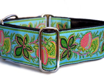 Martingale Collar: Berry Vines on Turquoise Jacquard - 2 Inch, Greyhound Collar, Martingale Collar, Martingale Dog Collar, Custom Dog Collar