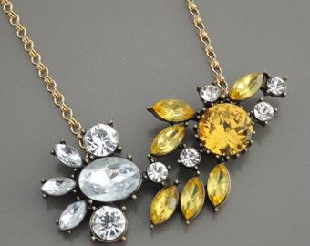 Statement Necklace - Rhinestone Necklace - Gold Necklace - Yellow Necklace - Layering Necklace - Crystal Necklace - Handmade Necklace
