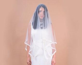 LACE bridal veil, square cut veil, lace with pearl accents trim, fingertip length veil, blusher, soft veil, drop veil
