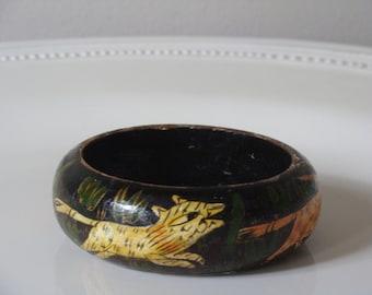 SALE Vintage Bangle - Painted Wooden Bangle - Boho Handpainted Bracelet