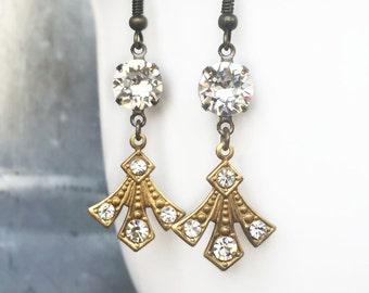 1920s Wedding Accessories - Gatsby Wedding Jewelry - Delicate Wedding Earrings - 1920s Wedding Jewelry - Art Deco Bridal Earrings