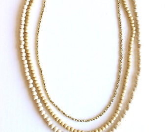 Layered Necklace, layered and long Necklace, long beaded necklace, Basic necklace kit, natural wood necklace