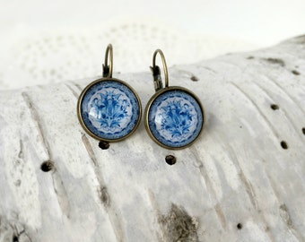 Blue White Gzhel Earrings, Antique Bronze, Glass Cabochon