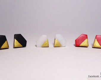 Geometric Diamond Gold Dipped dainty earrings (1pair)