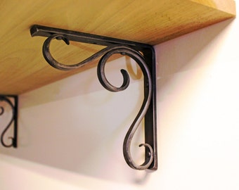 Forged Metal Shelf Bracket - Hammered Scroll Design - Style 02