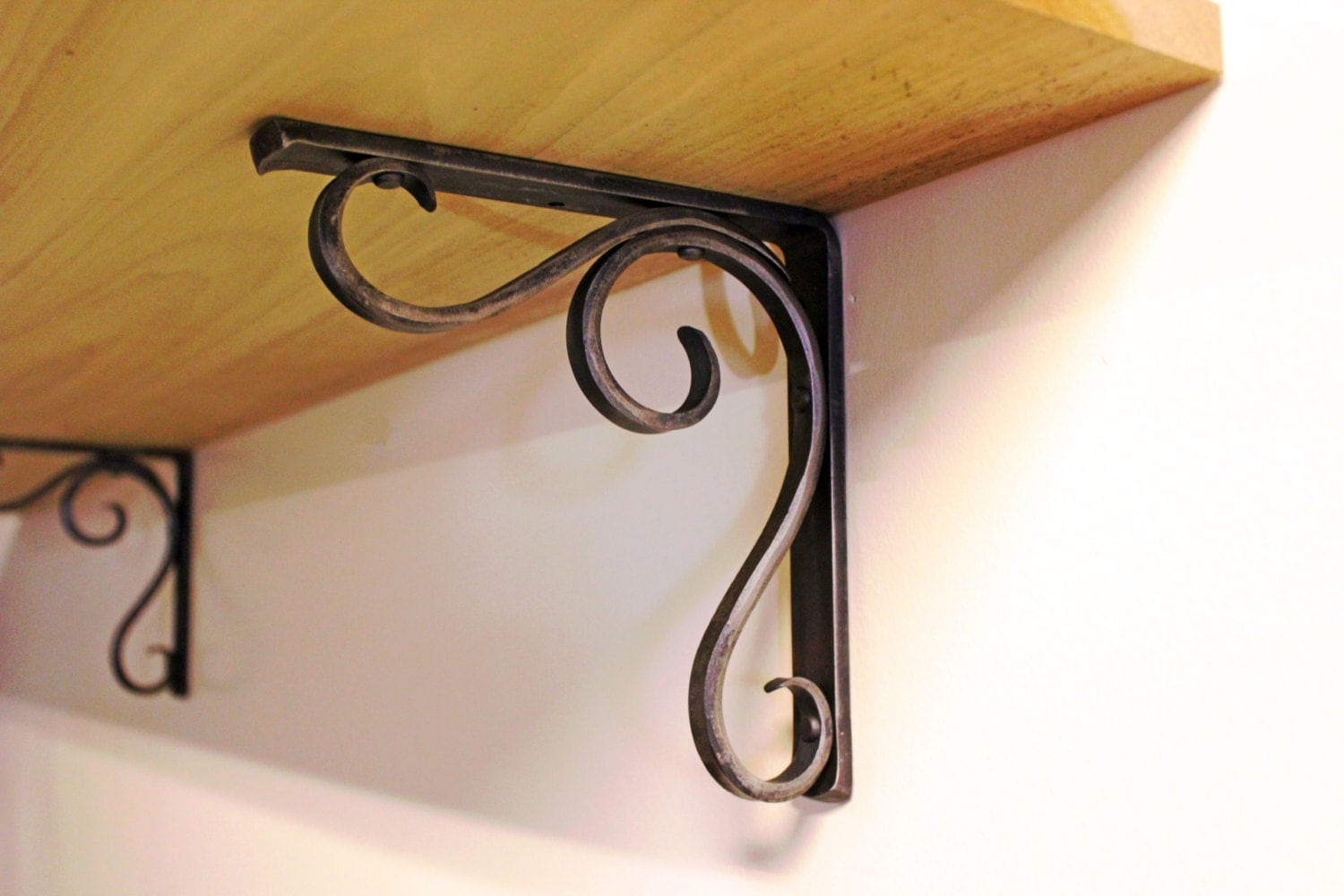Forged Metal Shelf Bracket Hammered Scroll Design Style 02